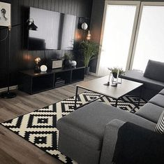 My amazing sitting room. Grey couch and black white carpet My amazing sitting room. Grey couch and black white carpet Interior Design Living Room, Living Room Designs, Black Living Room Furniture, Interior Livingroom, Black And White Carpet, Black White, Small Apartment Decorating, Living Room Carpet, Apartment Living