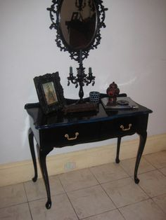 Hexotica's Queen Anne table renovation: from broke-down white thrift find to goth fab   Offbeat Home & Life