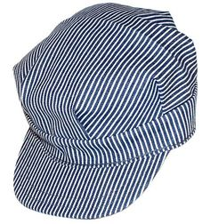 This train engineers hat is a great accessory for kids. The hat is made out of blue and white striped fabric with a solid brim in the front. The back adjusts in size to fit your child. Not recommended
