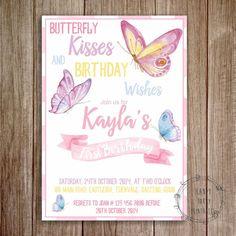 Rainbow Butterfly Birthday Invitation Butterfly Birthday Invite
