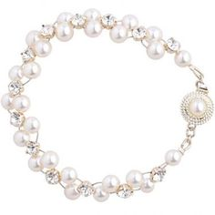 Swarovski pearl and diamante wedding bracelet with feature clasp, handmade to order Wedding Bracelet, Wedding Jewelry, Swarovski Pearls, Pearl Necklace, Jewellery, Bracelets, Handmade, String Of Pearls, Wedding Wristlet