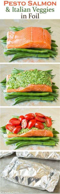 Healthy Meals Pesto Salmon and Italian Veggies in Foil - this is an easy, flavorful dinner that is sure to please! So delicious! - Pesto Salmon and Italian Veggies in Foil - this is an easy, flavorful dinner that is sure to please! So delicious! Healthy Cooking, Healthy Snacks, Healthy Eating, Cooking Recipes, Healthy Recipes, Cooking Foil, Locarb Recipes, Vegetarian Recipes, Atkins Recipes
