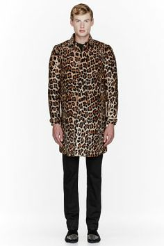 BURBERRY PRORSUM Tan Calf-hair Leopard Spot Print Coat