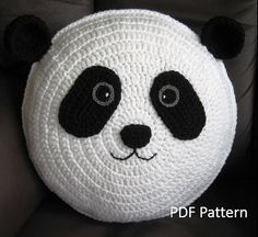 My cute Panda Cushion PDF Crochet Pattern // A Pillow that