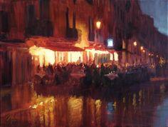 oil painting | Dinner in Venice | Christopher Clark  Ugallery Online Art Gallery