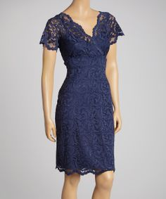 Navy Lace Surplice Dress - Women | something special every day