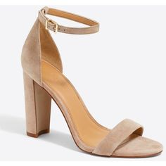 J.Crew Suede chunky-heel sandals ($64) ❤ liked on Polyvore featuring shoes, sandals, suede leather shoes, chunky heel sandals, heeled sandals, j crew shoes and high heel shoes