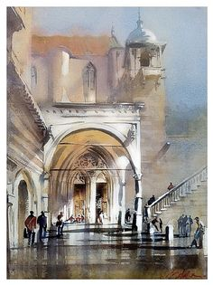 portico - assisi by Thomas W Schaller Watercolor ~ 20 inches x 14 inches