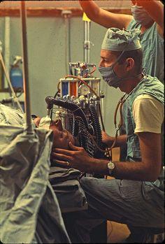 Lt. John Clark, a Certified Registered Nurse Anesthetist at work in Surgery at the 7th Surgical Hospital (MA) Blackhorse, Vietnam 1967-68.  #VietnamMemories