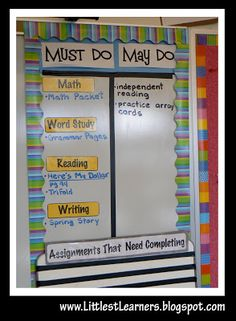 Littlest Learners / Clutter-Free Classroom Blog: Must Do / May Do Board -Whatever Wednesday