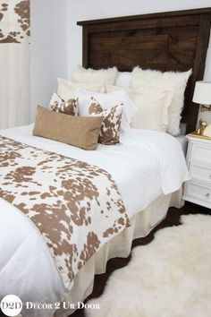 This rustic farmhouse bedding set features simple linen frills wi… Holy COW-hide! This rustic farmhouse bedding set features simple linen frills with textured fur, suede, and super-soft cowhide fabric. It's the perfect apartmen Farmhouse Bedding Sets, Modern Farmhouse Bedroom, Rustic Farmhouse, Rustic Bedding Sets, Farmhouse Style, Farmhouse Ideas, Rustic Cafe, Rustic Logo, Rustic Restaurant