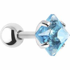16 Gauge 5mm Aqua CZ Square Cartilage Tragus Earring