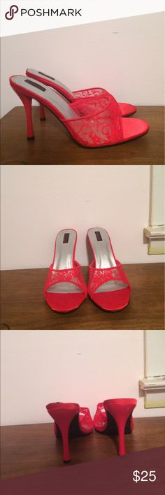 """NWT Frederick's of Hollywood Lace Heels NWT Frederick's of Hollywood red Lace Heels. Brand new in box. Approx 4"""" heel. Frederick's of Hollywood Shoes Heels"""