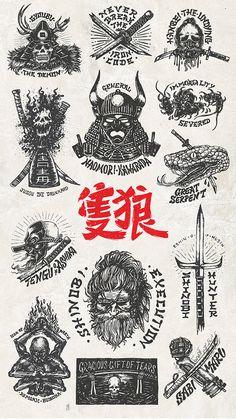 Sekiro Shadows Die Twice Emblem Collection on Behance Old School Tattoo Designs, Japanese Tattoo Designs, Japanese Tattoo Art, Tattoo Designs Men, Japanese Art, Japanese Dragon, Anime Tattoos, Body Art Tattoos, Sleeve Tattoos