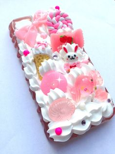 Kawaii Cute Decoden Pastel Pink Rabbit Sauce Candy Bow Whipped Cream iPhone 5 Cell Phone Case
