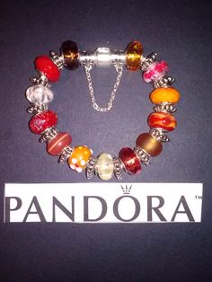 "Sterlins Silver 8"" bracelet with murano glass beads and antique silver spacers."