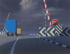JEFFREY SMART (1921-2013)  Level Crossing 1997 oil on canvas 71.0 x 91.0 cm signed lower right: JEFFERY SMART signed and dated middle left in number plate: JEFFERY SMART/ 1997