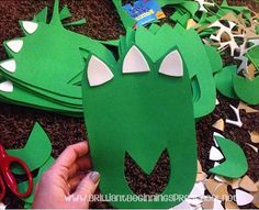 Make some slip on dinosaur feet with foam sheets!