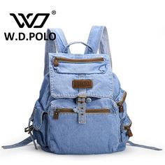 W.D POLO Gava Jeans leather Women Backpack high quality chic brand design lady street. Item Type: BackpacksBackpacks Type: SoftbackBrand Name: Goddess kingdomCarrying System: Arcuate Shoulder StrapExterior: NoneRain Cover: NoHandle/Strap Type: Soft HandleClosure Type: Zipper & HaspDecoration: NoneGender: WomenPattern Type: SolidStyle: FashionLining Material: CottonMain Material: DenimModel Number: M2181Technics: jeansStyle: Fashioncolor: vintage/blue//blackLeather : jeans fabricUsage…
