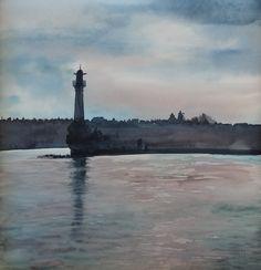 sandysign | Phare lac Léman à Genève Beach, Water, Outdoor, Lake Geneva, Watercolor Artists, Lighthouses, Watercolor Painting, Gripe Water, Outdoors