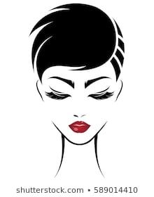 Immagini, foto stock e grafica vettoriale simili a tema illustration of women short hair style icon, logo women face on white background, vector - 589014410 Silhouette Art, Woman Silhouette, Female Face Drawing, Line Art Vector, Sketches Tutorial, Adult Coloring Book Pages, Illustration, Fashion Design Sketches, African American Art