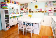 IKEA craft room table with lots of storage Get the best ideas for making your own IKEA craft room tables and desks that fit any space and storage requirements. Lots of IKEA hacks and tutorials, too! Craft Tables With Storage, Craft Room Tables, Ikea Craft Room, Craft Room Storage, Room Organization, Table Storage, Basement Craft Rooms, Basement Ideas, Playroom