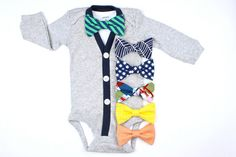 Gray Cardigan and Bow Tie Set Navy/Green Baby Bow Tie by HaddonCo