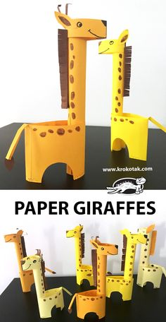 DIY Project, Craft Ideas, Paper Giraffes by: krokotak Animal Crafts For Kids, Summer Crafts For Kids, Craft Projects For Kids, Paper Crafts For Kids, Cardboard Crafts, Arts And Crafts Projects, Diy For Kids, Preschool Crafts, Fun Crafts