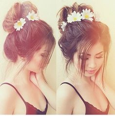 messy bun with flower band