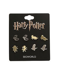 """Four pairs of stud earrings from Harry Potter featuring animal emblem silhouette designs representing each house of Hogwarts School of Witchcraft and Wizardry.<br><ul><li style=""""list-style-position: inside !important; list-style-type: disc !important"""">Alloy</li><li style=""""list-style-position: inside !important; list-style-type: disc !important"""">Imported<br></li></ul><br>"""