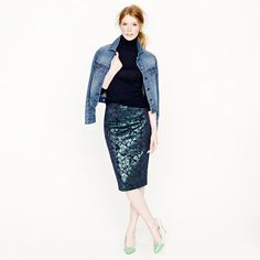 J.CREW Petite No. 2 pencil skirt in metallic floral in Green Tinsel, 00P - Pretty fitted. Maybe I should return to running?