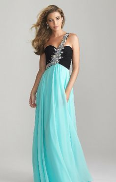 Black and light blue long dress with sparkly silver strap