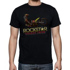 NEW Rockstar Energy Drink Image Black Mens T-Shirt Size S-XXL - T-Shirts, Tank Tops