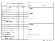 Daily Progress Report Forms Kindergarten  Th Grade Printables