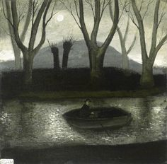 """Rowing in the Dark"", on the Somerset Levels, by John Caple Nocturne, Naive Art, Dark Art, New Art, Contemporary Art, Illustration Art, Canvas Art, Artwork, Somerset Levels"