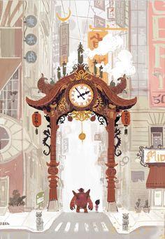 Early Big Hero 6 concept art re-imagining chinatown gate by Scott Watanabe