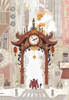 "scottwatanabe: "" Early Big Hero 6 concept art re-imagining chinatown gate """