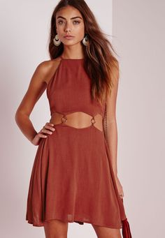 Cut Out Ring Detail Skater Dress Rust - Dresses - Skater Dresses - Missguided