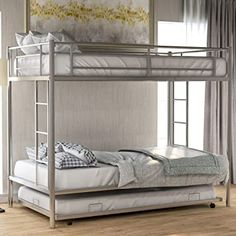 Metal Bunk Bed with Trundle Twin Over Twin Bunk Bed Frame with Ladder and Safety Rails for Kids,Silver Bunk Bed With Trundle, Twin Bunk Beds, Kids Bunk Beds, Twin Twin, Bedroom Bed, Bedroom Furniture, Silver Furniture, Bedroom Ideas, Best Platform Beds
