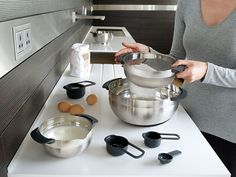 Joseph Joseph 9 Stainless Steel Compact Nesting Mixing Bowl Set Measuring Tools Sieve Colander Food Prep Dishwasher Safe NonSlip Silver >>> Check this awesome product by going to the link at the image-affiliate link. Kitchen Sets, Kitchen Cupboards, Kitchen Tools, Kitchen Dining, How To Cook Liver, Live Lobster, Joseph Joseph, Stylish Kitchen, Food Preparation