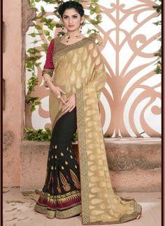 Cream Black Georgette Embroidery Work Jacquard Designer Half Sarees http://www.angelnx.com/Sarees/Party-Wear-Sarees