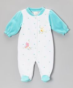 Take a look at this Turquoise Hearts & Birds Footie - Infant by Absorba on #zulily today!
