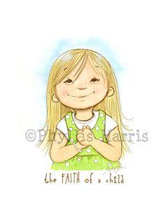 Children's Wall Art Print  - The Faith of a Child Illustration - Girl's room decor- Customizable Hair Color