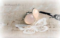 Boutons de manchette *Quartz rose / Pink Quartz* 18mm métal argenté