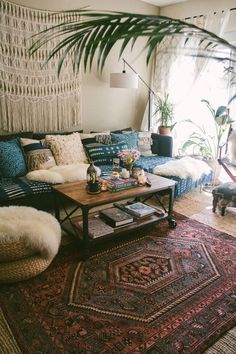 Using this colorful rug as the centerpiece, this boho living room is full of fanciful details!