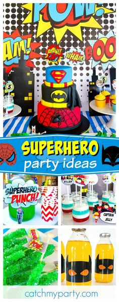 Check out this 'Pow-erful' Superhero Birthday Party!! The tiered superhero birthday cake is fantastic!! See more party ideas andshare yours at CatchMyParty.com
