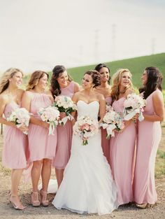 A few of our favorite things: pink, sequins, and bridesmaids.   Photography: Danielle Poff Photography - www.daniellepoff.com  Read More: http://www.stylemepretty.com/california-weddings/2014/07/14/blush-and-sequin-wedding-at-murrietas-well/