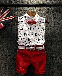 Lil Mantra Shirt & Capri Set - White & Red
