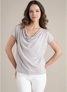 Drape Neck Tee in Linen Jersey with Glass Beads