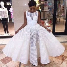 White Lace Ball Gown Prom Dresses Crew Neck Puffy Black Girl African Girl Evening Formal Gowns from Wedding store African Attire, African Wear, African Dress, African Fashion, African Girl, Elegant Dresses, Beautiful Dresses, Gorgeous Dress, White Lace